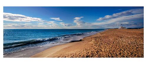 Palavas, La plage de Maguelone - Carte postale panoramique 10x23 cm - Photographe: Marianne Raous