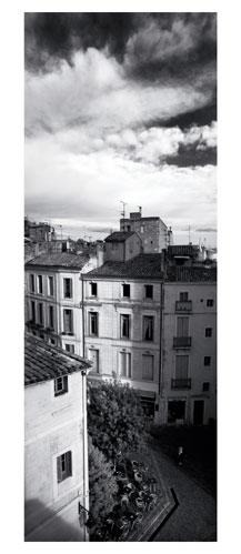 Montpellier, Photographie noir et blanc. Rue du Petit Scel - Carte Postale panoramique 10x23. Photographe Marianne Raous