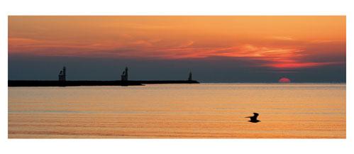 Port Camargue - La jetée du Chenal Sud depuis la plage sud. Carte postale panoramique 10x23 cm - Photographe: Marianne Raous