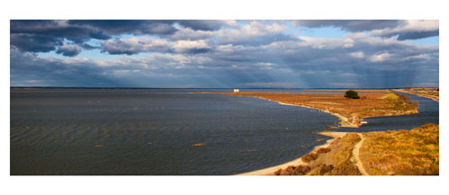 L'étang de l'Or et la cabane de l'Avranche. A droite, le canal du Rhone à Sète. Carte postale panoramique 10x23 cm - Photographe: Marianne Raous