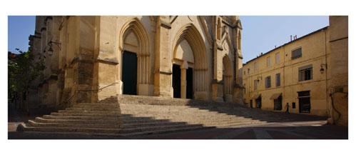 Montpellier, L'Eglise Saint Roch - Carte Postale panoramique 10x23. Photographe Marianne Raous